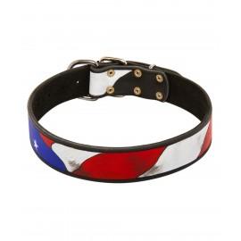 Per Hand bemaltes Lederhalsband USA Stil für Schäferhund