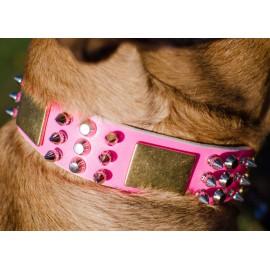 Rosa Designer Halsband aus Leder für Schäferhund