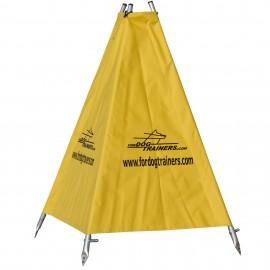 Zelt für IPO Training und Schutzhund mit Schäferhund, hochwertig und kompakt