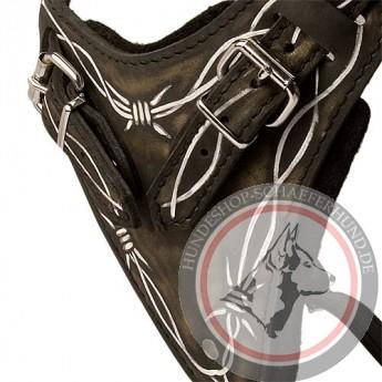 Handbemaltes im Draht-Stil Leder Hundegeschirr für Schäferhunde