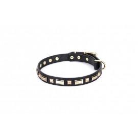 Schäferhund Hundehalsband Leder mit rechteckigen Platten und Nieten aus Messing