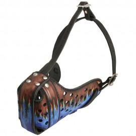 Stoß-Maulkorb Leder für Schäferhund mit Feuer Muster