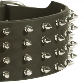 Wide Leather Dog Collar with Spikes for German Shepherd Collar