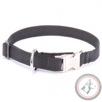 Schwarzes Halsband aus Nylon für Schäferhund klassisch