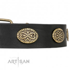 "German Shepherd Collar ""Vintage Attraction"" FDT Artisan Tan Leather"