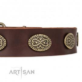 "German Shepherd Collar ""Chocolate kiss"" FDT Artisan Tan Leather"