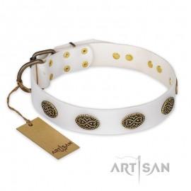 "German Shepherd Collar ""Lovely Lace"" FDT Artisan Tan Leather"