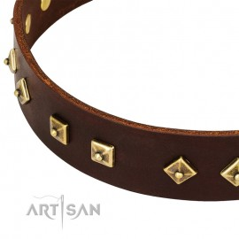"German Shepherd Collar ""Fashion Studs"" FDT Artisan Tan Leather"