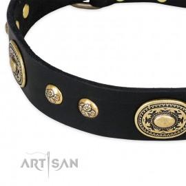 "German Shepherd Collar ""High Fashion"" FDT Artisan Tan Leather"