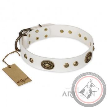 """German Shepherd Collar """"Adorable Dream"""" FDT Artisan Tan Leather"""