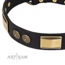 "German Shepherd Collar ""Ancient Egypt"" FDT Artisan Tan Leather"