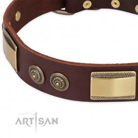 """German Shepherd Collar """"Golden Stones"""" FDT Artisan Tan Leather"""