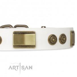 """German Shepherd Collar """"Golden Avalanche"""" FDT Artisan Tan Leather"""