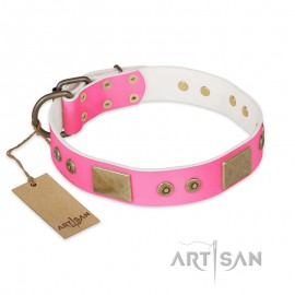 """Elegantes rosa Lederhalsband für Schäferhunde """"Pink World"""" FDT Artisan"""