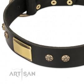 """German Shepherd Collar """"Black Sun"""" FDT Artisan Black Leather"""