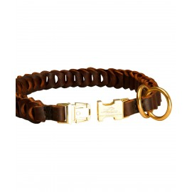 Braided Leather Choke Dog Collar