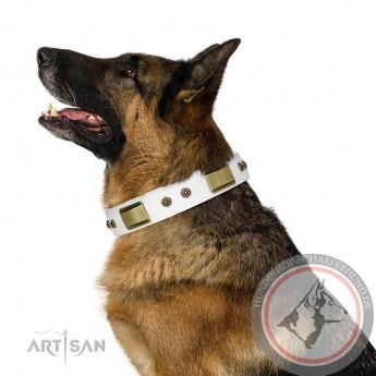 """""""Precious Necklace"""" weißes Leder Halsband für Schäferhund FDT Artisan"""