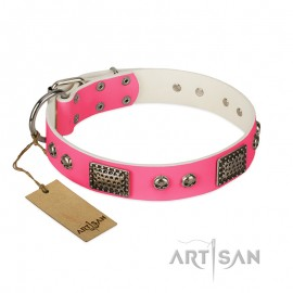 "German Shepherd Collar ""Fashion Skulls"" FDT Artisan Pink Leather"