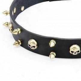 Halsband Leder mit Schmuck aus Messing für Schäferhund