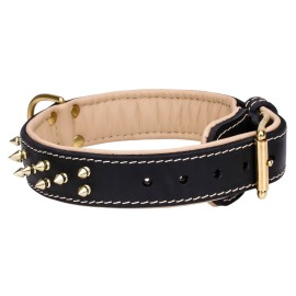 Studded Leather Dog Collar with Nickel Pyramids
