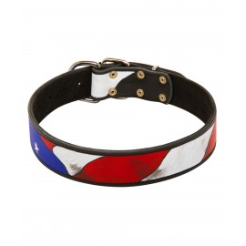 German Shepherd Collar Leather, Hand Painted USA Flag