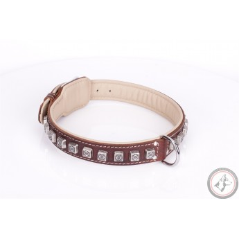 German Shepherd Collar  Brown Leather