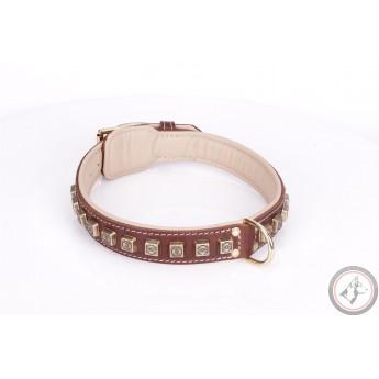 German Shepherd Collar  Bronze Brown Leather