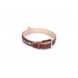 Braunes Nieten Bronze Lederhalsband für Schäferhunde