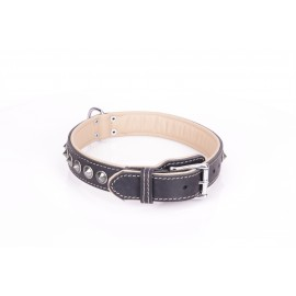 Exclusive German Shepherd Collar  Black Leather Bronze Spikes