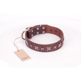 German Shepherd Collar  Bronze Brown Leather