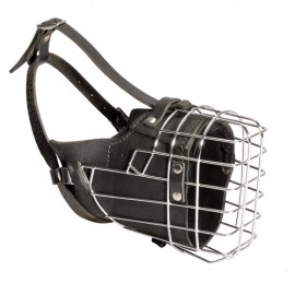 Fully padded wire muzzle for shepherd dog