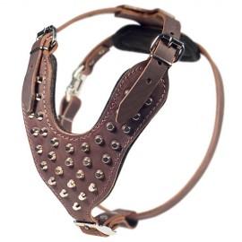 Braunes Hundegeschirr Leder  für Schäferhund, Pyramiden-Dekor