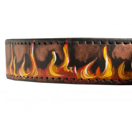 Hand Painted Leather Dog Collar Red Flame
