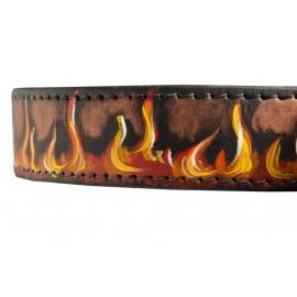 Breites Lederhalsband mt Flamme Muster Design für Schäferhunde