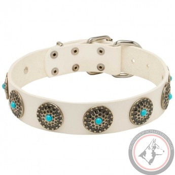 White Leather Dog Collar with Blue Stones
