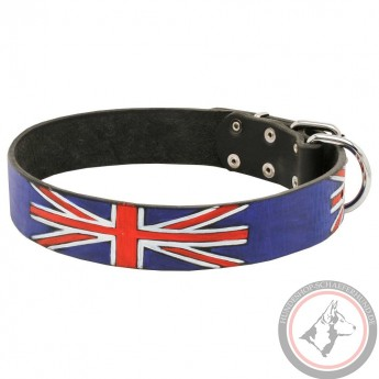 Großbritannien Flagge Design Lederhalsband für Schäferhund