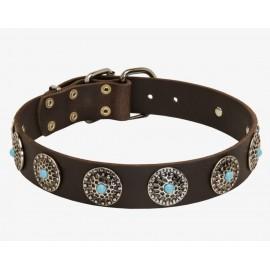 Lederhalsband mit blauen Steinen exklusiv für Schäferhund