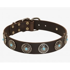 GSD Collar, Leather with Vintage Circles & Blue Stones