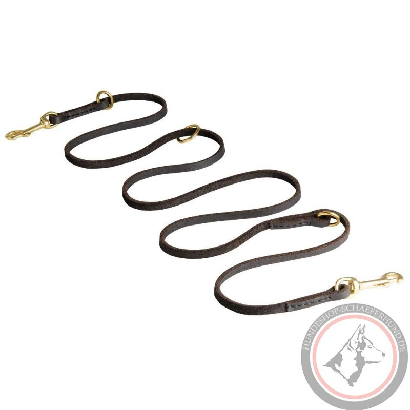 german shepherd leash leather with two brass snap hooks