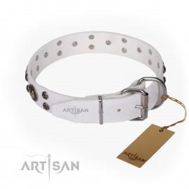 "German Shepherd Dog Collar Leather FDT Artisan ""White Jewel"""
