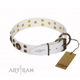 "German Shepherd Collar ""White Gentle Feather"" Artisan with Studs"