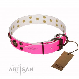 "Leder Halsband in Rosa für Schäferhund ""Pink of Perfection"" FDT Artisan"