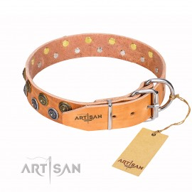 "German Shepherd Dog Collar ""Precious Sparkle"" FDT Artisan, Beige"
