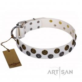 "German Shepherd Collar ""Snowflake"" FDT Artisan in White Leather"