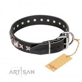 """German Shepherd Collar Black Leather """"Space Walk"""" FDT Artisan"""