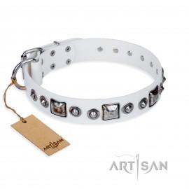 """German Shepherd Dog Collar """"Lustre of Fame"""" FDT Artisan in White"""