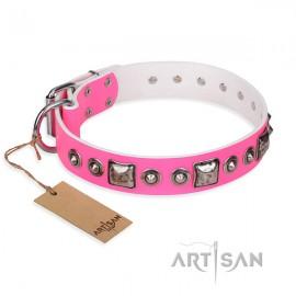 """German Shepherd Dog Collar """"Pink Dream"""" FDT Artisan in Pink"""
