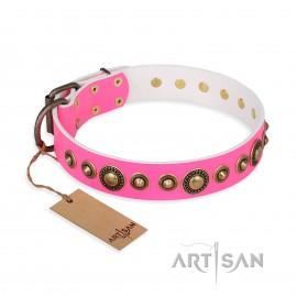 """Hundehalsband aus Leder für Schäferhund """"Pink Gloss"""" FDT Artisan in ungewöhnlichem Design"""