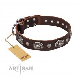 "German Shepherd Dog Collar Leather by FDT Artisan ""Black Tie"""