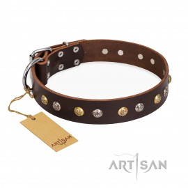 "German Shepherd Collar Brown Leather ""Rare Flower"" FDT Artisan"